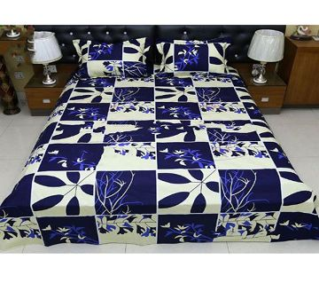Digital Home Tex Cotton Fabric 7.5 x 8.5 Feet King Size Bedsheet With Two Pillow Covers - Nevi Blue & White Color