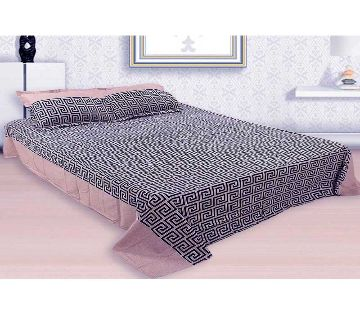 Digital Home Tex Cotton Fabric 7.5 x 8.5 Feet King Size Bedsheet With Two Pillow Covers - Cotton Candy & Black Color