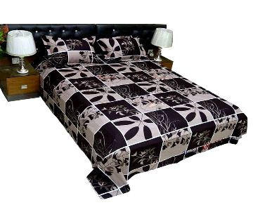Digital Home Tex Cotton Fabric 7.5 x 8.5 Feet King Size Bedsheet With Two Pillow Covers - Black & White Color