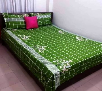 Digital Home Tex Cotton Fabric 7.5 x 8.5 Feet King Size Bedsheet With Two Pillow Covers - Green Color