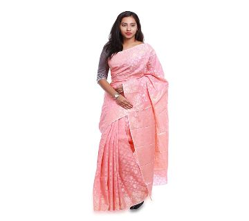 Jamdani Half Silk 12 Haat Sharee Without Blouse Piece For Womens-Pink