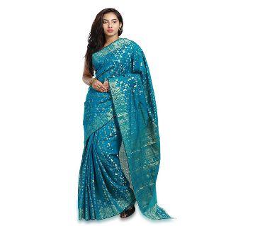 Jamdani Half Silk Sharee For Women without blouse piece-Blue