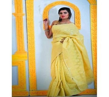 Jamdani Half Silk Sharee For Women without blouse piece-yellow