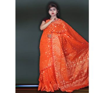 Jamdani Half Silk 12 Haat Sharee Without Blouse Piece For Womens By Sharee & Bedding.