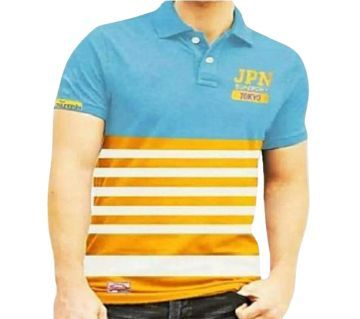 Mens JPN Polo Shirt Sky Blue & Orange
