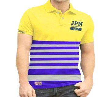 Mens JPN Polo Shirt Yellow & Blue