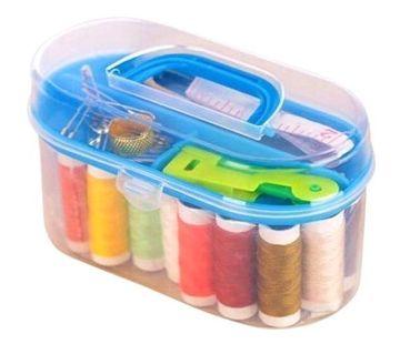 New Mini Sewing Kit Accessories Storage Organizer Box Plastic Thread Threader Needle Scissor Travel Box Sewing Tools