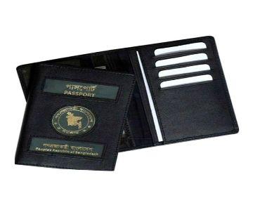 Leather Passport Cover - Black