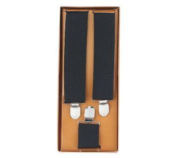 Black Cotton Suspenders For Men