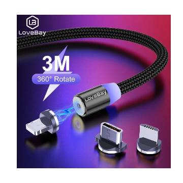 Lovebay 2-in-1 Lighting Magnetic Type-c Micro USB Adapter Fast Charging Cable 1 Meter