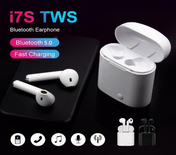 i7s TWS Wireless Bluetooth AirPods Earbuds with Charging case -White