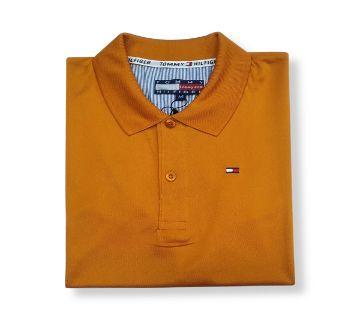 yellow Cotton half sleeve Polo Shirt For Men