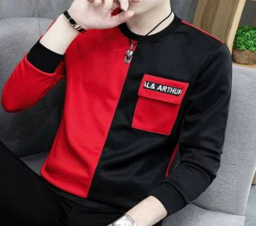 Mens Full sleeve Winter Tshirt-Black and red