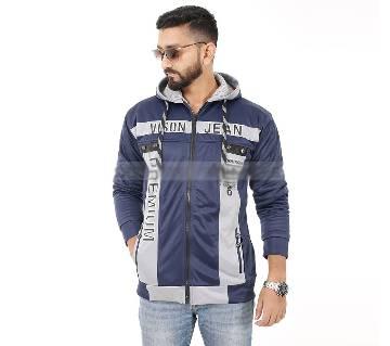 Premier Winter Jacket For Men-White and Navy