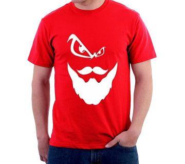 Printed Cotton Half Sleeve Tishirt for men -red