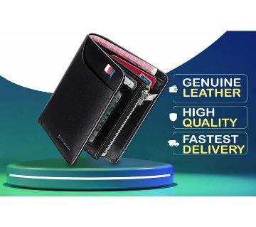 WILLIAMPOLO Genuine Leather Men Wallet With Card Holder Men Short Wallet Purse Zipper Wallets Casual Standard Wallets