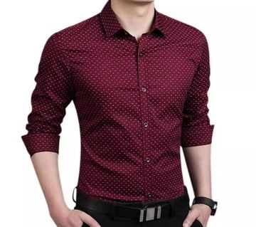 Maroon Cotton Long Sleeve Polka Dot Shirt for Men
