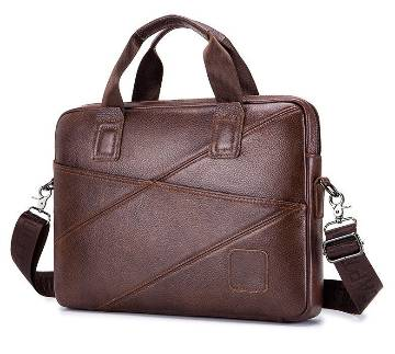 Genuine Leather Laptop Bag - Coffee