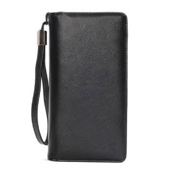 Genuine Leather Long Wallet - Black