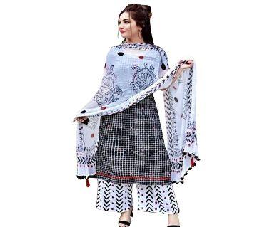 Block Printed Cotton Salwar Kameez For Women-ash