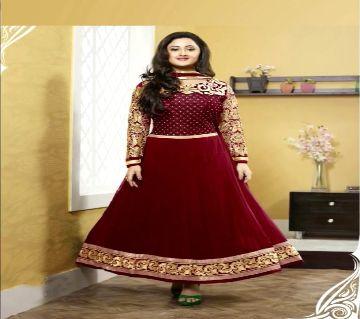 Block Printed Cotton Salwar Kameez For Women-maroon