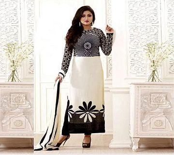 Block Printed Cotton Salwar Kameez For Women-White