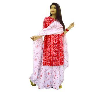 Block Printed Cotton Salwar Kameez For Women-Red
