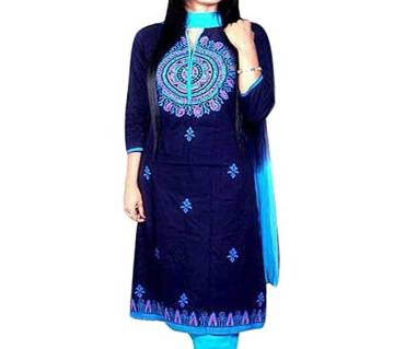 Unstitched Soft Cotton Block Printed Salwar Kameez For Women-Blue