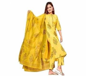 Premium Quality Unstitched Soft Cotton Block Printed Salwar Kameez For Women