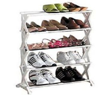5 Tier Foldable Stainless Steel Shoe Rack 15 Pair