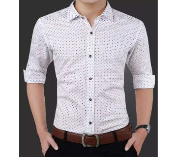 White Cotton Cotton Long Sleeve Polka Dot Shirt for Men