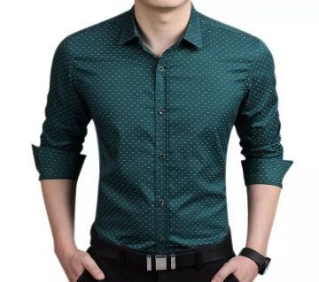 Cotton Long Sleeve Polka Dot Shirt for Men