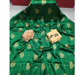 Japani Silk Afsan Screen Print Silk Salwar Kameez For Women Three Piece - Green & Golden Color