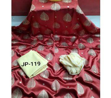 Japani Silk Afsan Screen Print Silk Salwar Kameez For Women Three Piece - Candy Red & Golden Color