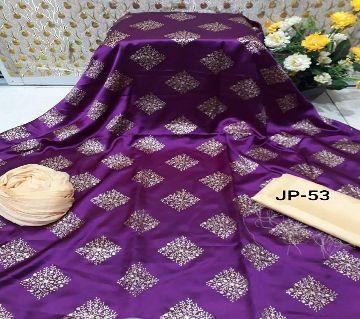 Japani Silk Afsan Screen Print Silk Salwar Kameez For Women Three Piece - Purple & Golden Color