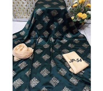 Japani Silk Afsan Screen Print Silk Salwar Kameez For Women Three Piece - Dark Green & Golden Color