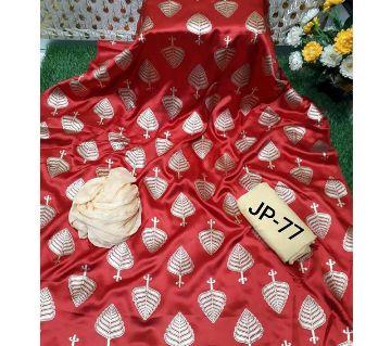 Japani Silk Afsan Screen Print Silk Salwar Kameez For Women Three Piece - Candy Red Color