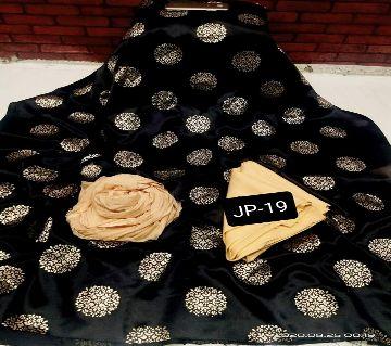 Japani Silk Afsan Screen Print Silk Salwar Kameez For Women Three Piece - Black & Golden Color