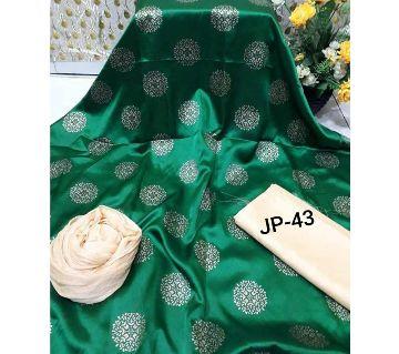 Japani Silk Afsan Screen Print Silk Salwar Kameez For Women Three Piece - Green Color