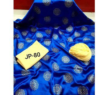 Japani Silk Afsan Screen Print Silk Salwar Kameez For Women Three Piece - Dark Blue & Golden Color
