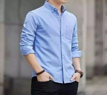 Mens Full Sleeve Casual Shirt - Light Blue Color