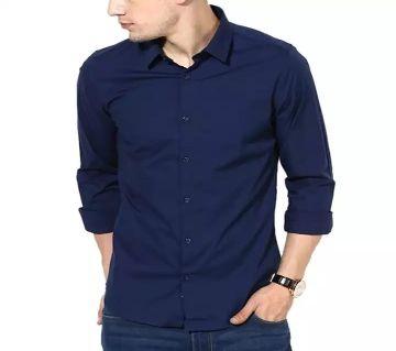 Mens Full Sleeve Casual Shirt - Nevi Blue Color