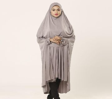 Women muslim wear khimar with niqab - 1 Piece ash color