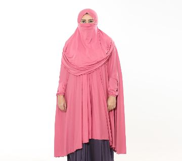 Women muslim wear khimmer with niqab - 1 Piece pink color