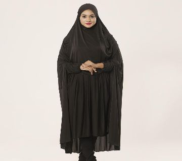 Women muslim wear khimar with niqab - 1 piece black color