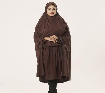 Women Muslim Wear Khimmer with Niqab-1 Piece Coffee Color