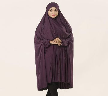Women Muslim Wear Khimar with Niqab - 1 Piece Purple Color