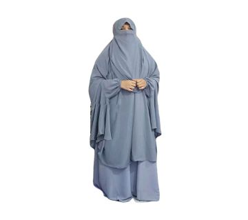Double Georgette Khimmer with Niqab & Skirt Full Set -2 Pieces Ash Color