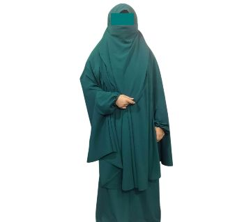 Double Georgette Khimmer with Niqab & Skirt-1 Piece Green Color
