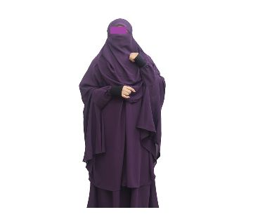Double Georgette Khimmer with Niqab & Skirt-2 Piece Purple Color